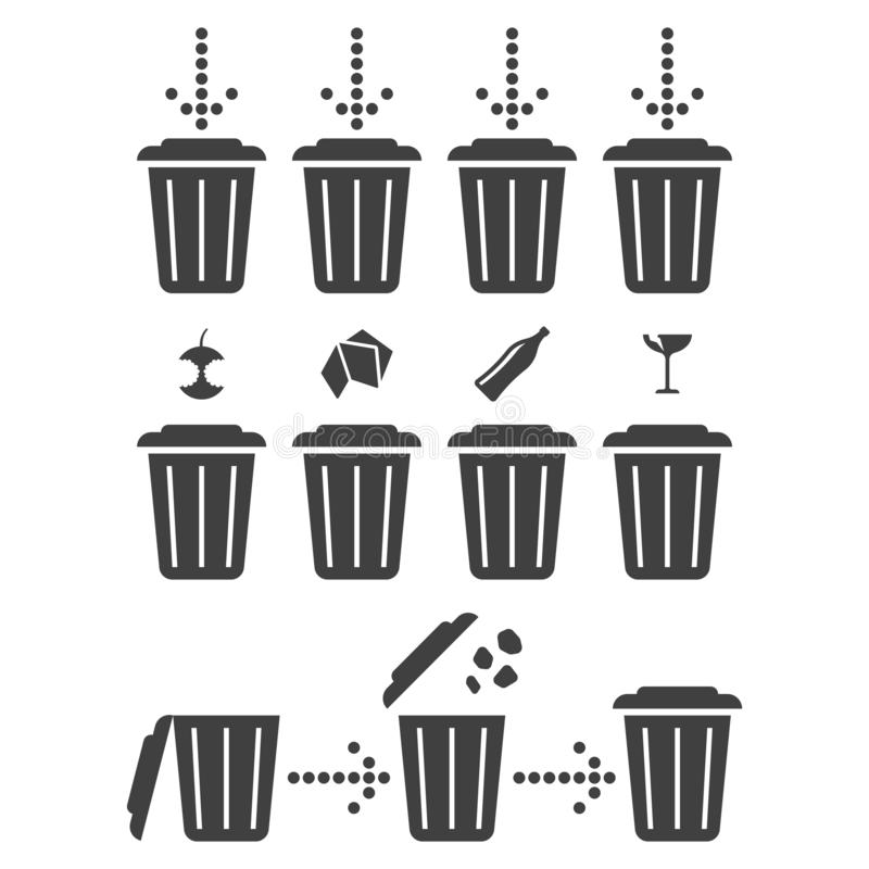 Set icons separate recycling. Vector on white background. Set icons separate recycling. Vector on white background stock illustration
