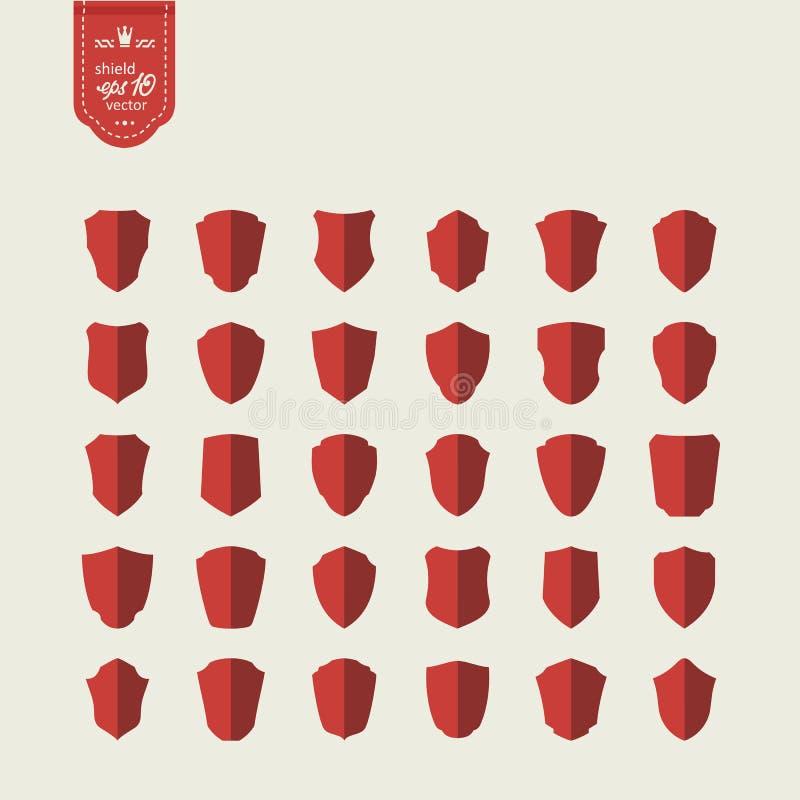 Set icons - shields stock illustration