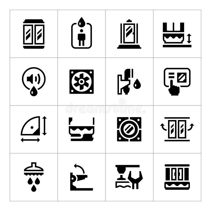 Set icons of shower cabin vector illustration