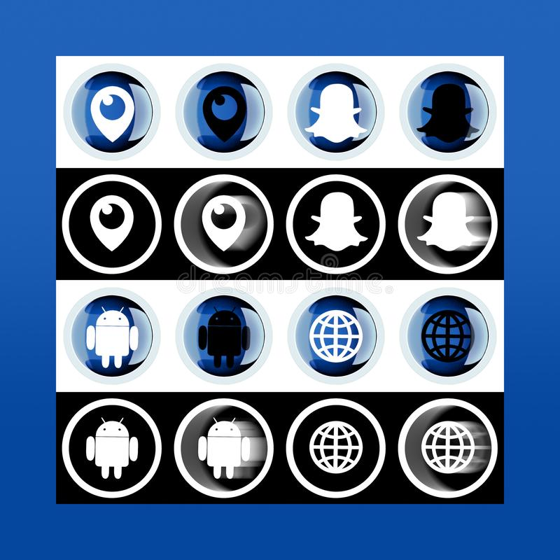 Set of icons: snapshot, periscope, globe, android on pc screen. stock illustration