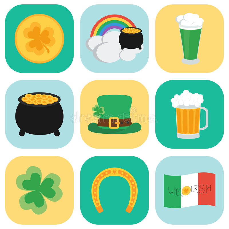 Set of icons on St. Patrick's Day. Flat style. vector illustration