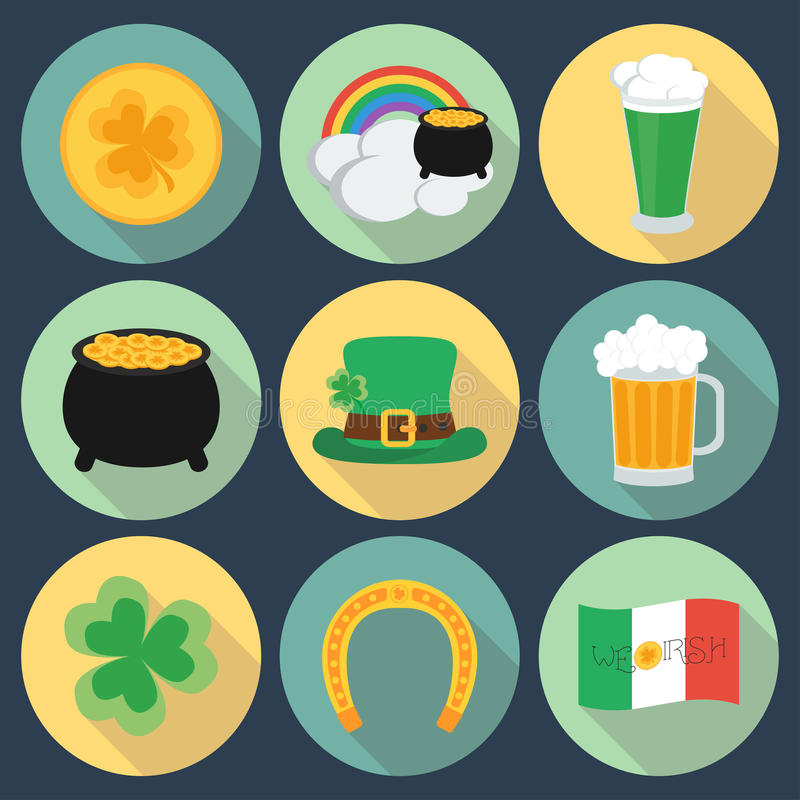 Set of icons on St. Patrick's Day. Flat style. Shadow. vector illustration