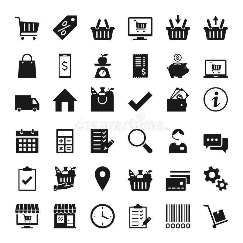 Icon set for shops and supermarkets. Set of icons for stores and supermarkets, and e-commerce vector illustration