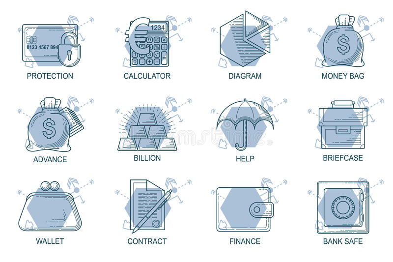 Set Icons in style flat line. Theme - Finance stock illustration