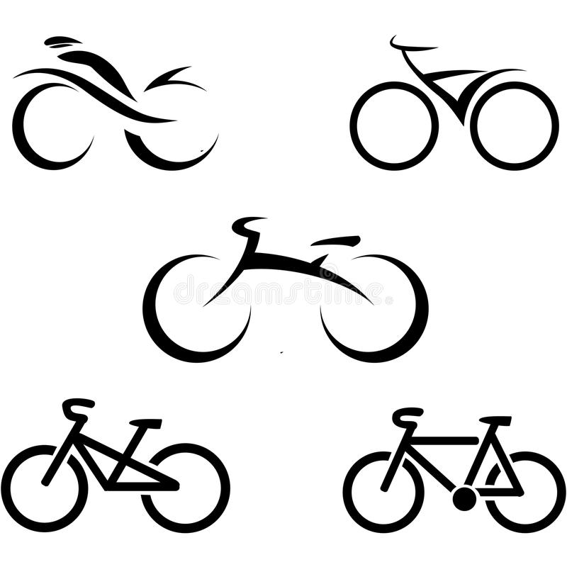 Set of icons with stylized bikes. Vector illustration stock illustration