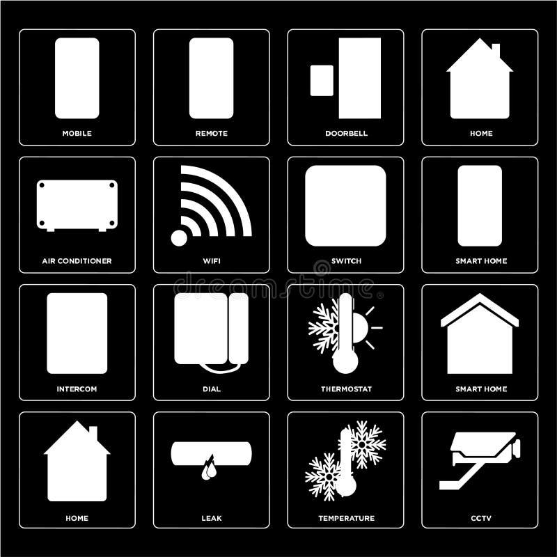 Set of Cctv, Temperature, Home, Thermostat, Intercom, Switch, Ai royalty free illustration