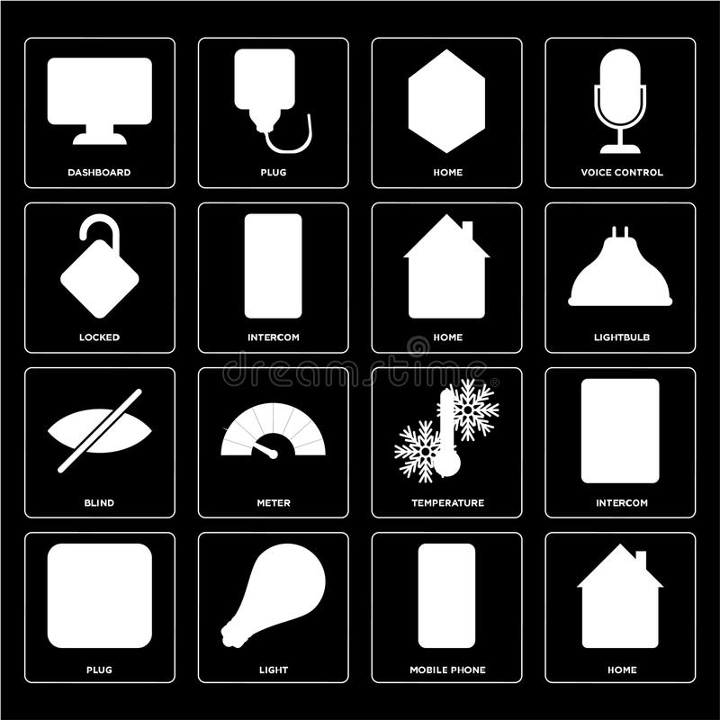 Set of Home, Mobile phone, Plug, Temperature, Blind, Locked, Dashboard icons vector illustration