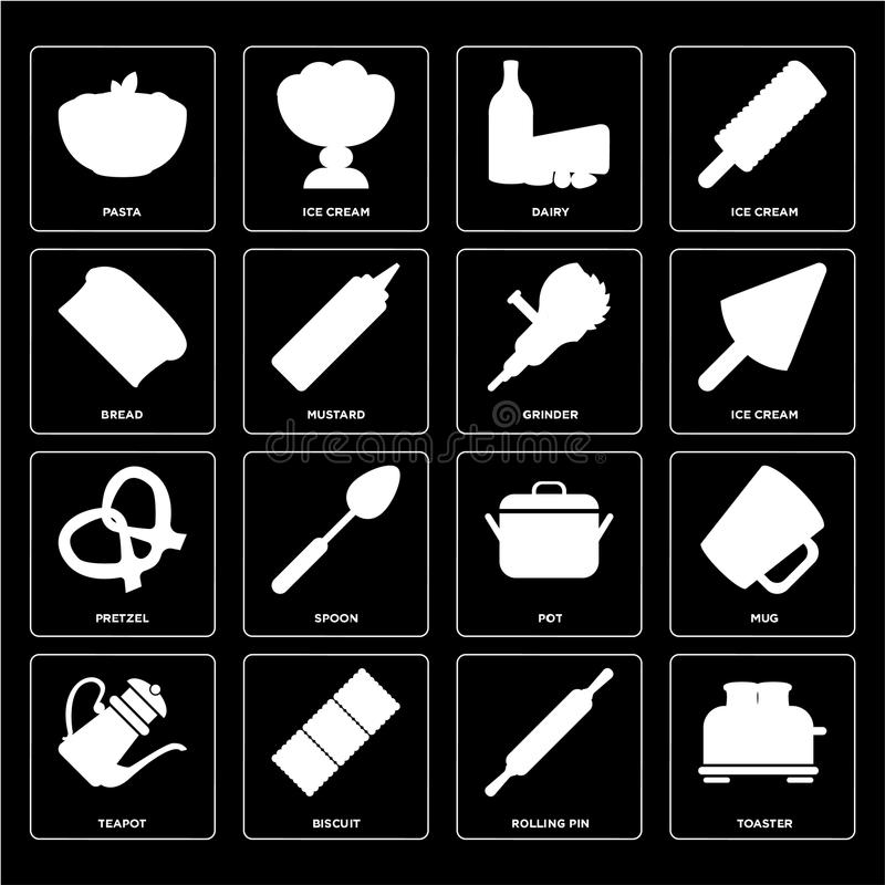 Set of Toaster, Rolling pin, Teapot, Pot, Pretzel, Grinder, Bread, Dairy, Pasta icons vector illustration