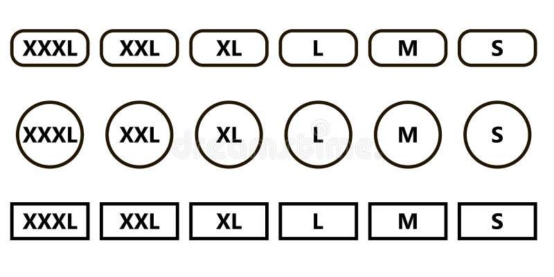Set Icons Symbols Size Clothing Stock Vector Illustration Of Label
