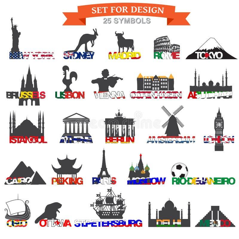 Set of icons symbols world capitals. Vector illustration stock illustration