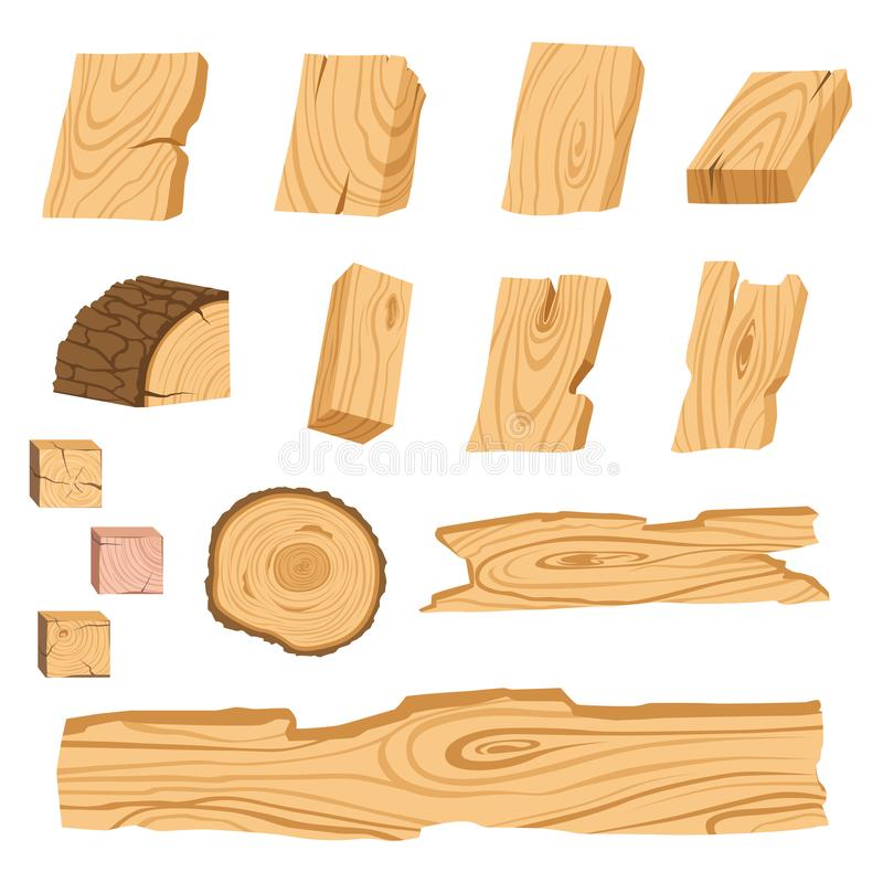 Set of icons of textured wooden boards, bars, and parts of a tree. Vector illustration stock illustration