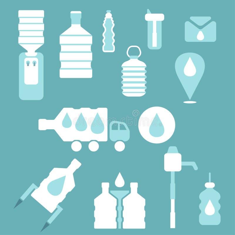 Set of icons for theme bottled flat design. Vector illustr. Set of icons for theme bottled water flat design. Vector illustration vector illustration