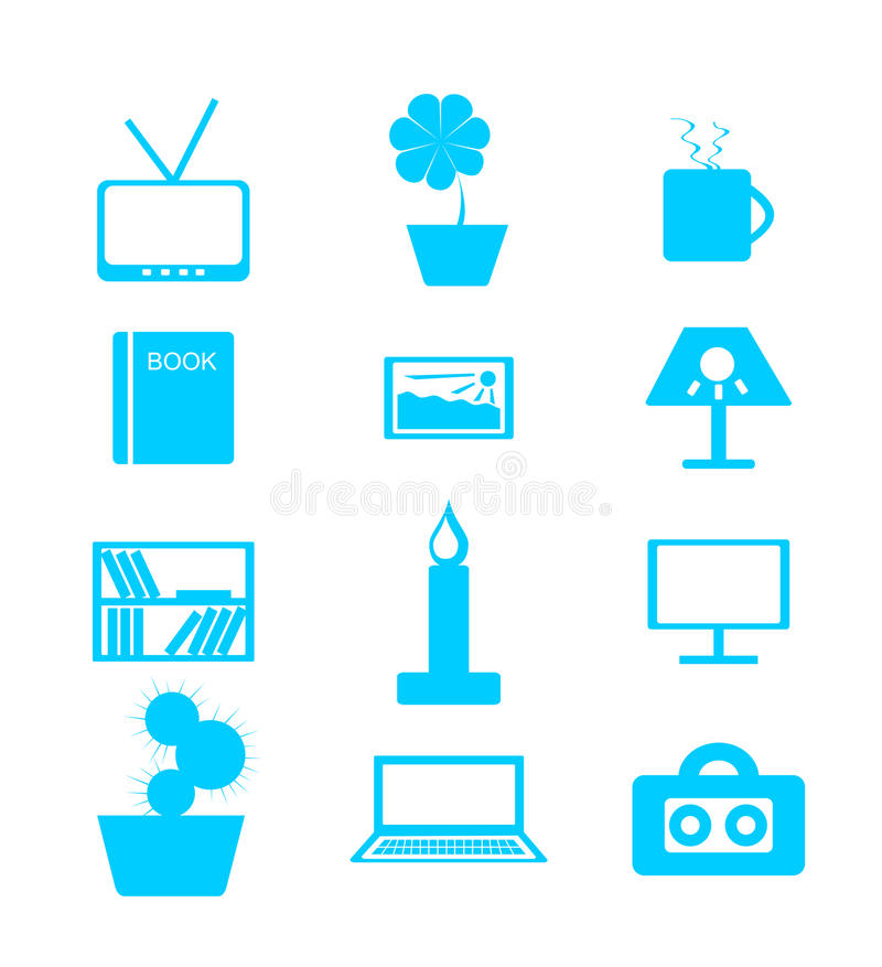 Set of icons on a theme: house, interior, decor. Set of blue icons over white background on the themes: house, interior, decor stock illustration