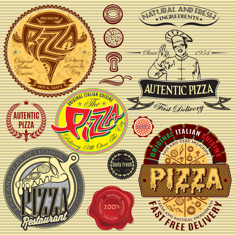 Download Set Of Icons On Theme A Pizza Delivery Restaurant Stock Illustration - Image: 38671253