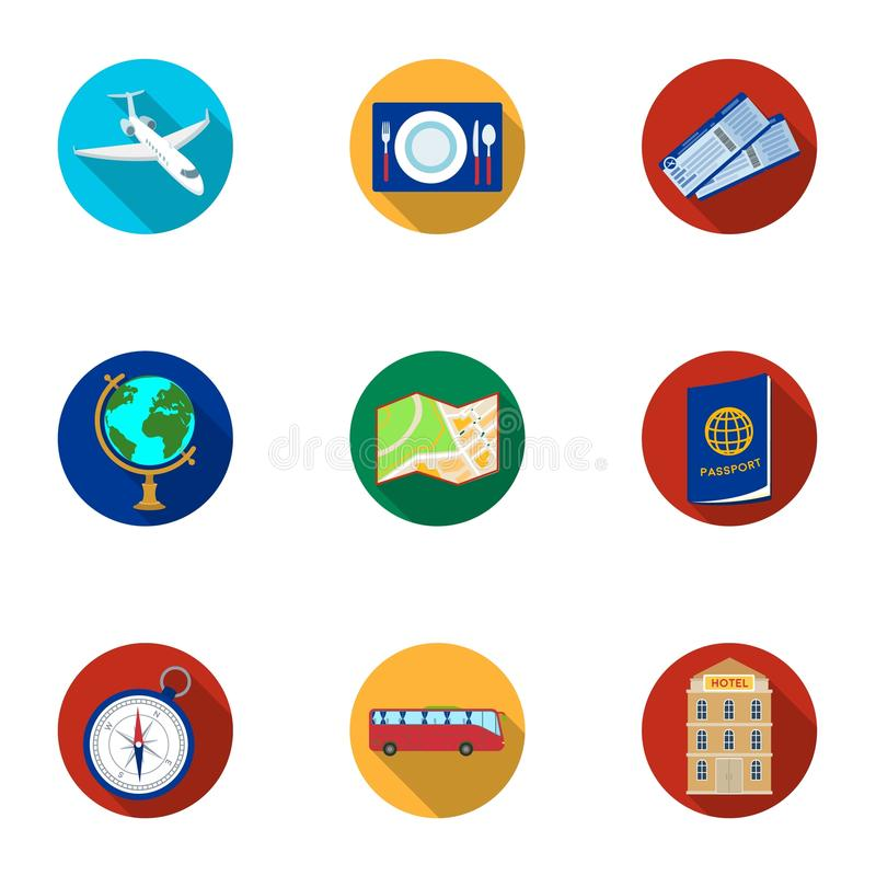 Set of icons on the theme of rest. Travel abroad. Rest ang travel icon in set collection on flat style vector symbol royalty free illustration