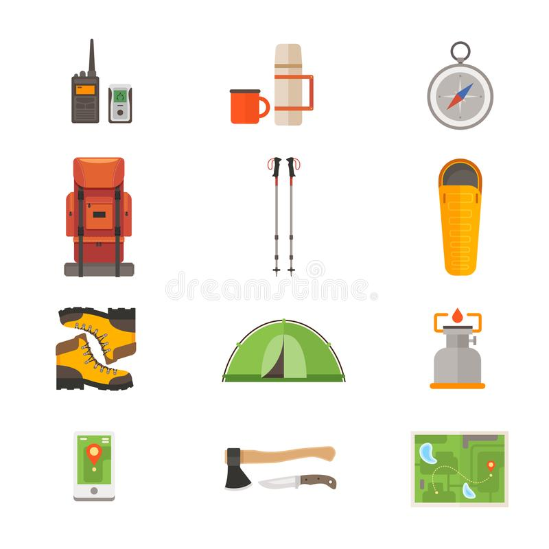 Set of icons on theme of travel gear. Travel and tourism concept. vector illustration