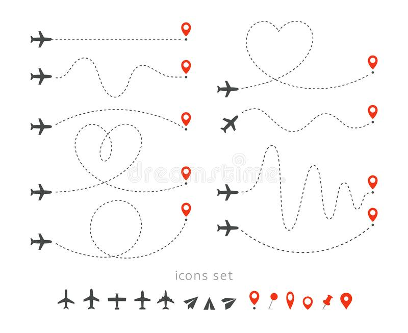 Set icons of travel way by plane. Takeoff and landing of a passenger plane. Flight route infographic elements. Flight by. Airplane, aviation tourism vector stock illustration