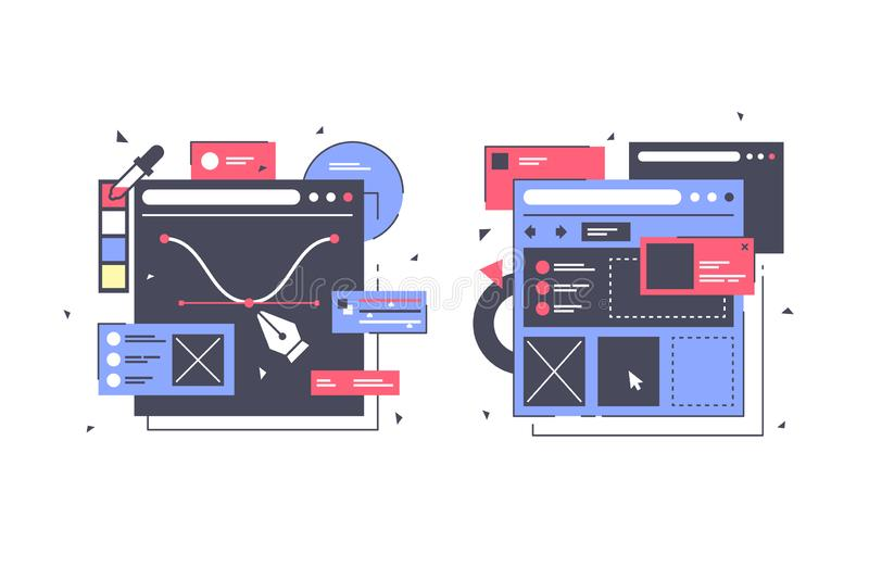 Set icons with web design, laptop, diagram, online app. royalty free illustration