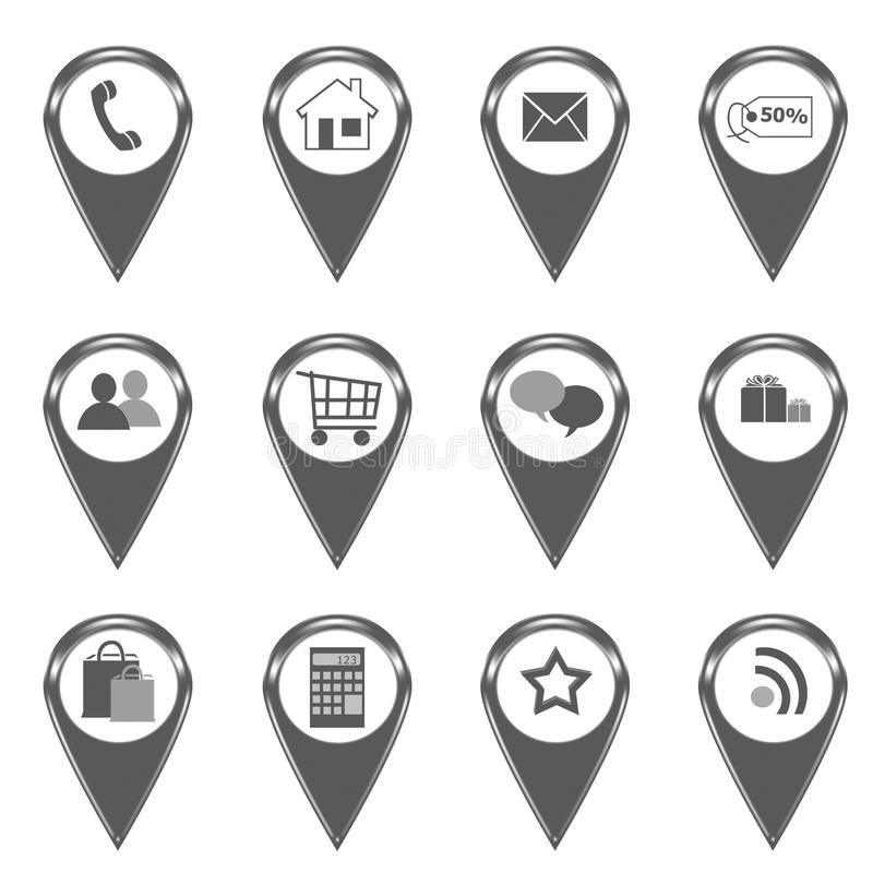 Set of icons for web or markers on maps stock illustration