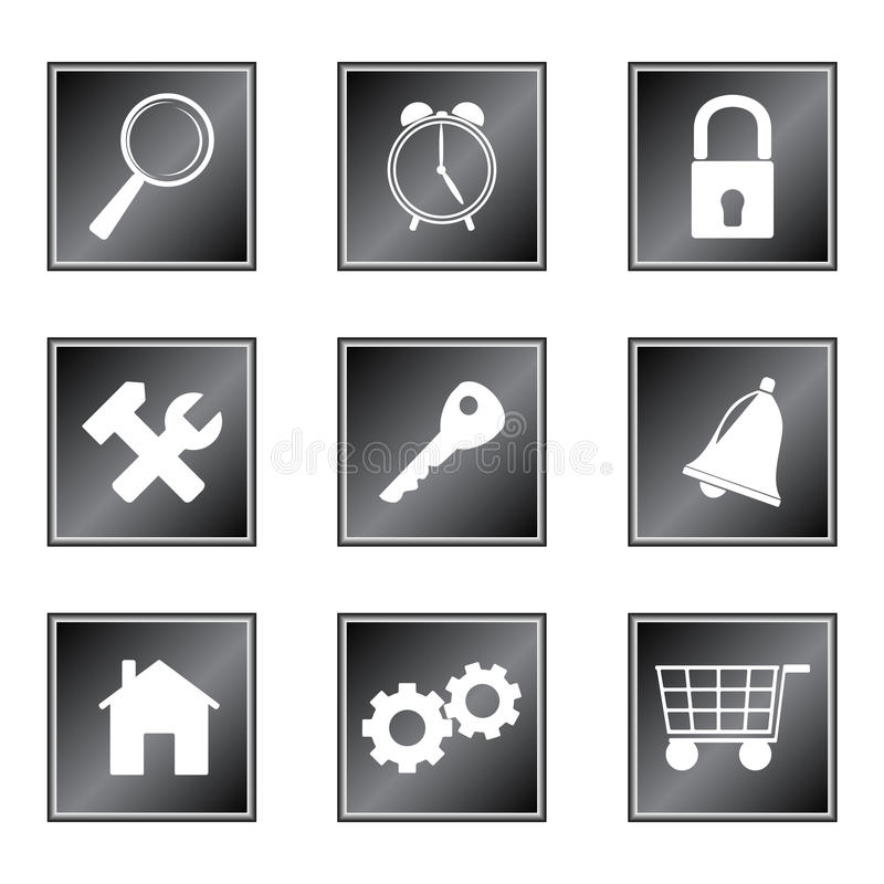 Download Set of icons stock vector. Illustration of buttons, presentation - 39844727
