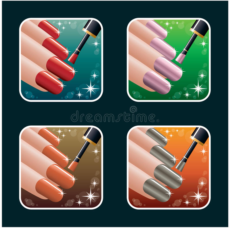 Set of icons of womens manicure. PS10 royalty free illustration