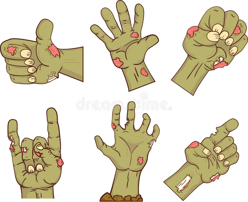 Set of icons,zombie hands. Collection gestures dead for the Halloween. Funny hand people design elements. Vector. vector illustration