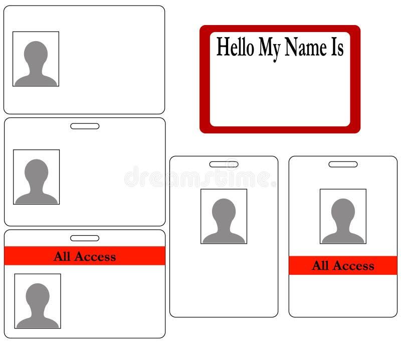 Set Identifikation-Abzeichen lizenzfreie abbildung