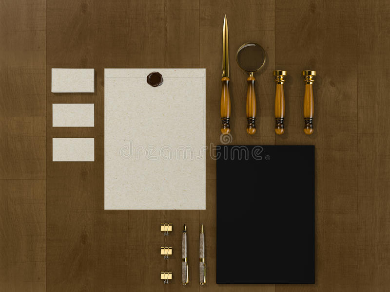 Set of identity elements on vintage wood background. High resolution royalty free illustration