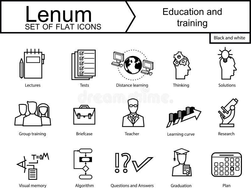 Set 15 ikon na edukacja i trening ilustracja wektor