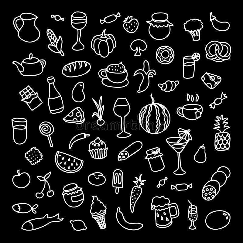 Set 55 ikon na temacie jedzenie, różni naczynia i kuchnie, ilustracja wektor
