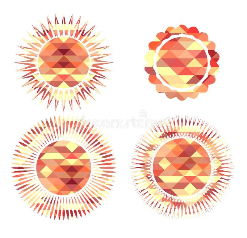 Set ikon słońc składać się z poligonalni elementy royalty ilustracja