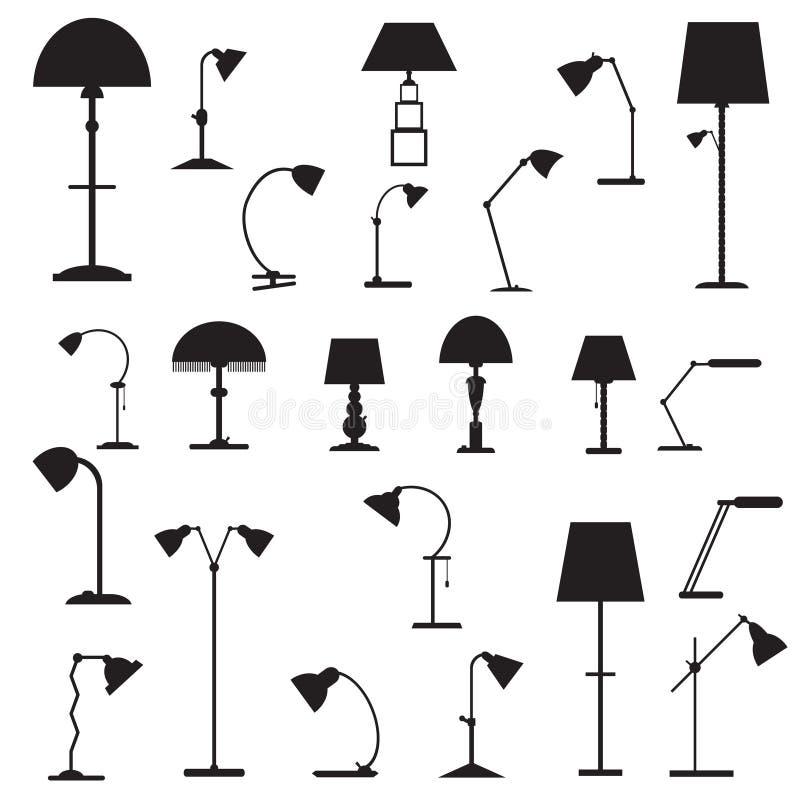 Set ikon stołowe lampy ilustracja wektor