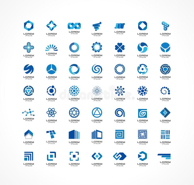 Set ikona projekta elementy Abstrakcjonistyczni logów pomysły dla biznesowej firmy Finanse, komunikacja, eco, technologia, nauka royalty ilustracja