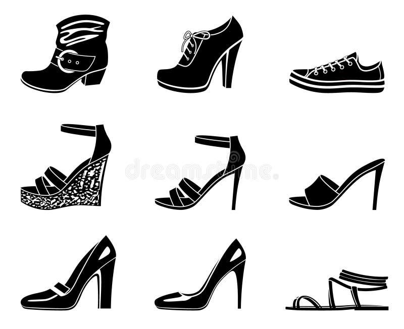 Set Ikonen des womanish Schuhes lizenzfreie abbildung