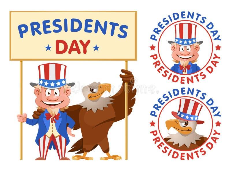 Set Ikonen Karikatur-Uncle Sam und Weißkopfseeadlergrifffahne lizenzfreie abbildung