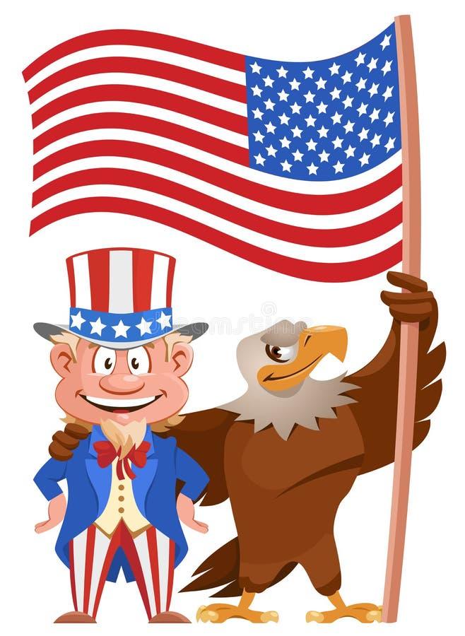 Set Ikonen Karikatur-Uncle Sam und Weißkopfseeadlerholding amerikanische Flagge lizenzfreie abbildung