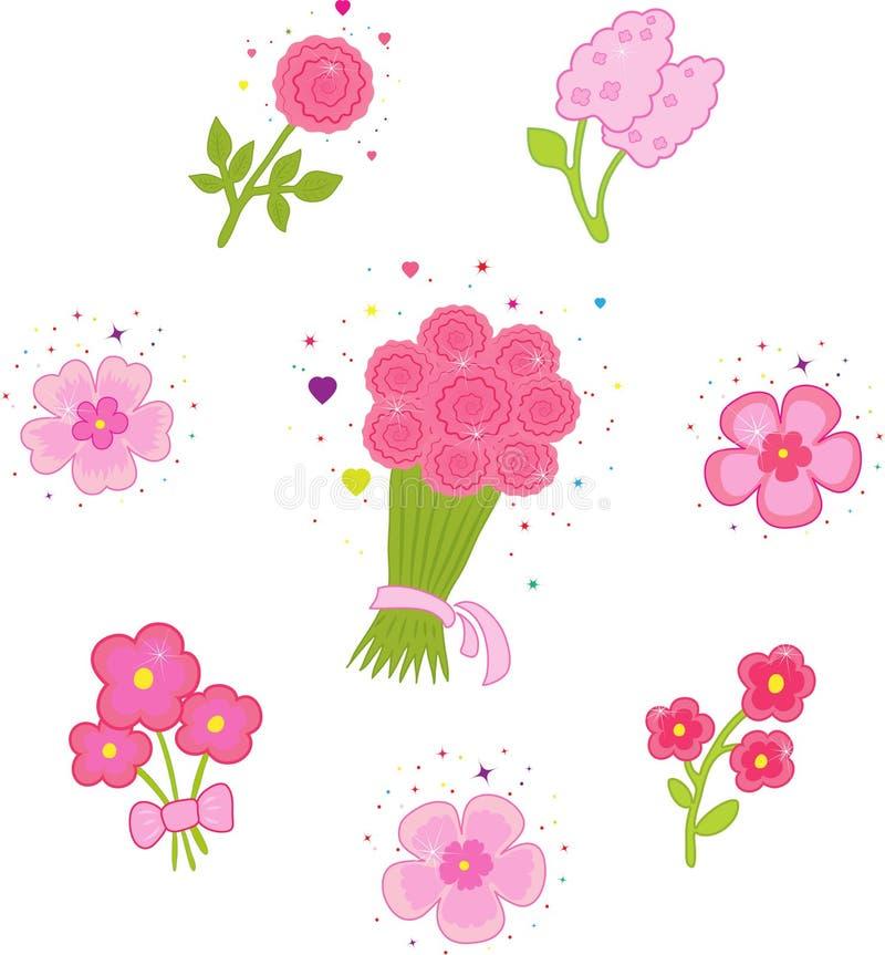 Set Ikonen mit Blumen. vektor abbildung