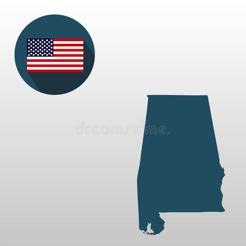 Set ikony Amerykańska mapa Alabama i flaga ilustracji