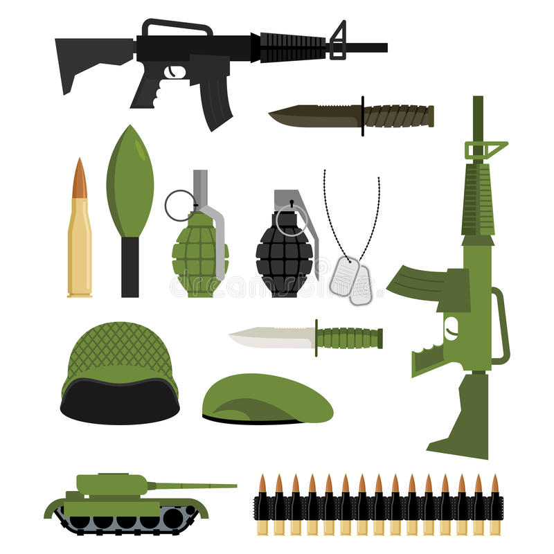 Set ikony dla broni wojna Jednostki wojskowe: zbiornik i granat royalty ilustracja