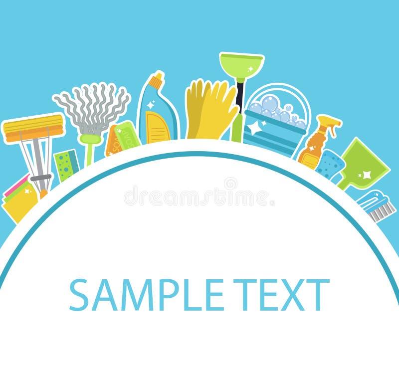 Set ikony dla czyści narzędzi Szablon dla teksta Domowy cleaning personel Płaski projekta styl Czyści projektów elementy Wektorow ilustracji
