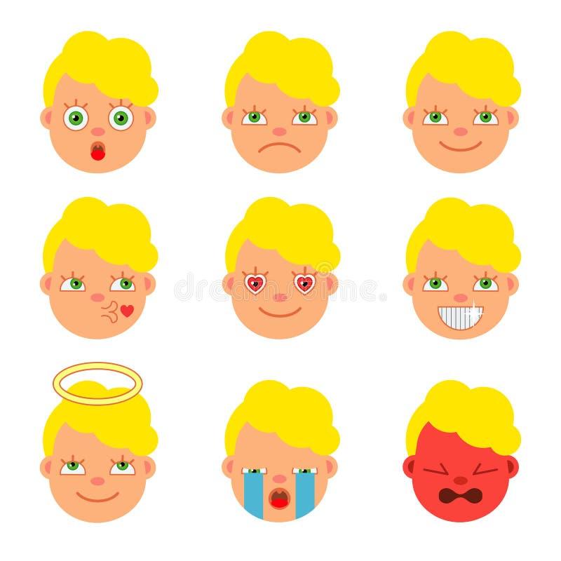 Set ikony dla emoticons Mieszkanie styl kreskówka wektor ilustracji