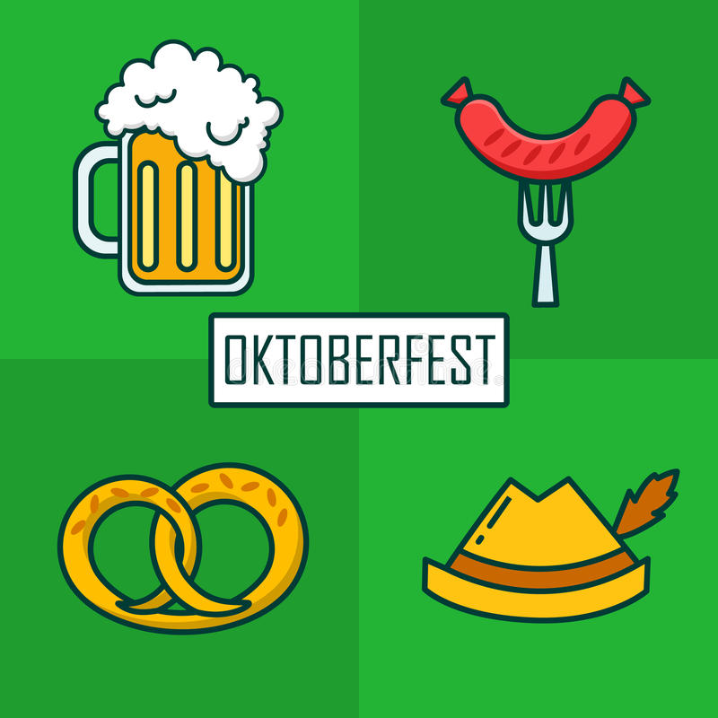 Set ikony dla Oktoberfest z piwnym kubkiem, kapeluszem, kiełbasą i brezn, Cienki kreskowy płaski projekt wektor ilustracji