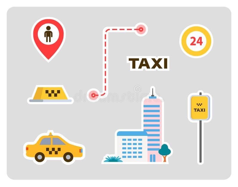 Set ikony dla taxi samochód, dom, znaki, etykietki z uderzeniami P?aski projekt ilustracji