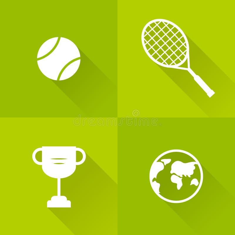 Set ikony dla tenisa Mieszkanie styl również zwrócić corel ilustracji wektora ilustracji