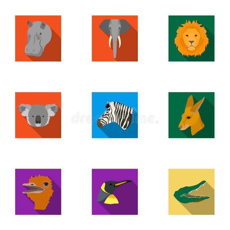Set ikony dzikie zwierzęta Drapieżczy i pokojowi dzikie zwierzęta Realistyczna zwierzęca ikona w ustalonej kolekci na mieszkaniu royalty ilustracja
