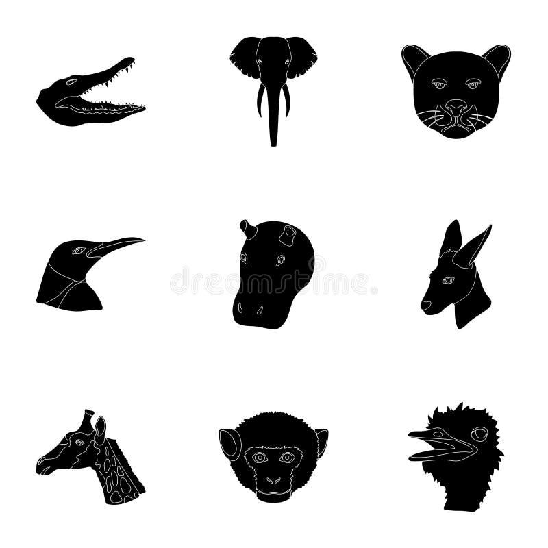 Set ikony dzikie zwierzęta Drapieżczy i pokojowi dzikie zwierzęta Realistyczna zwierzęca ikona w ustalonej kolekci na czerni ilustracji
