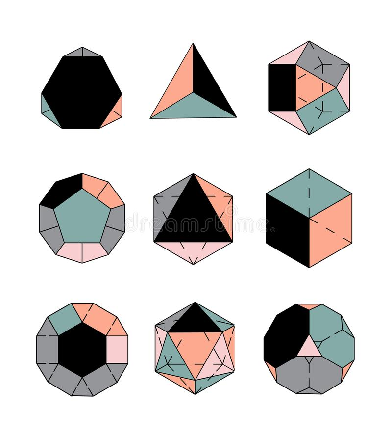 Set ikony, geometryczny logo ilustracji