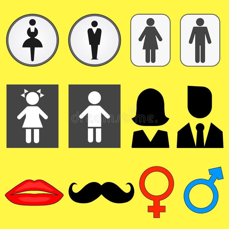 Set ikony ilustracje męscy i żeńscy symbole royalty ilustracja
