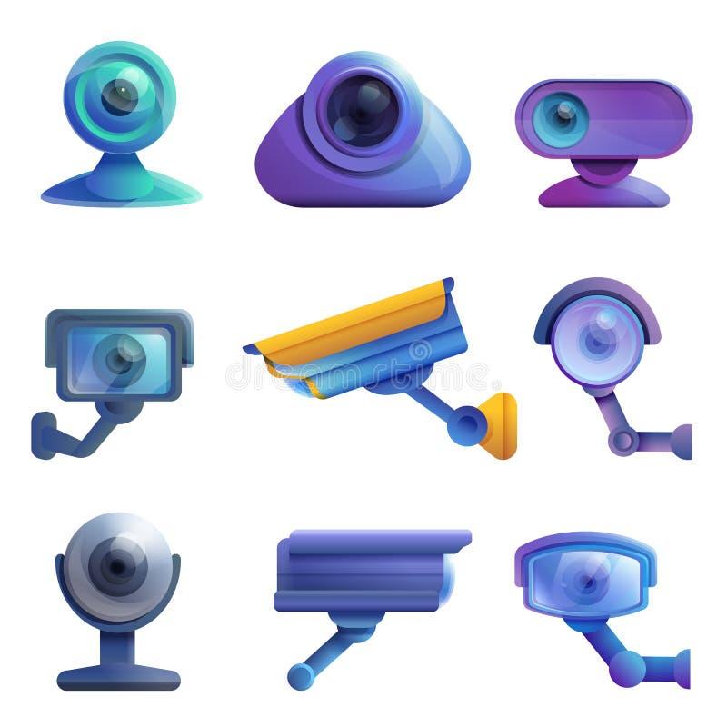 Set ikony inwigilacji kamery internetowe i kamery ilustracja wektor