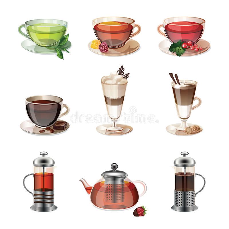 Set ikony kawa, herbata i cukierki, ilustracji